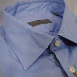 Canali Men's Modern Fit Dress Shirt Blue Stripe